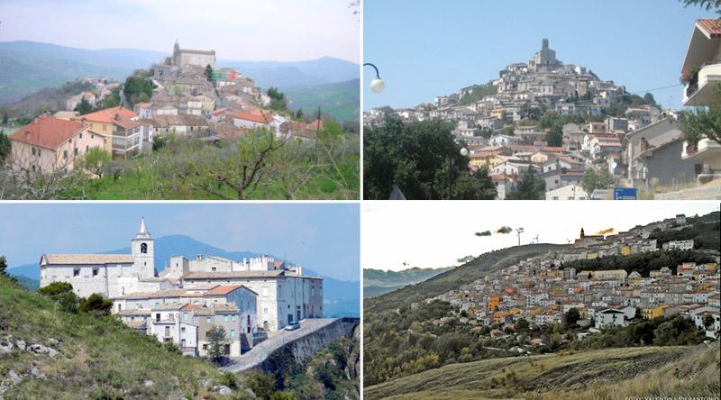 In senso orario: San Giovanni, Carunchio, Lentella e Castiglione