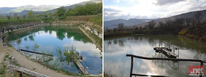 A sinistra il lago prima del maltempo, a destra com'è oggi