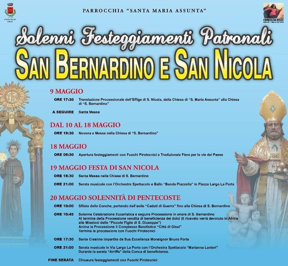 San Nicola Calendario.Gissi Le Feste Patronali Di San Bernardino E San Nicola